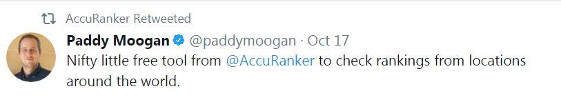 Paddy Moogan Accuranker Tweet