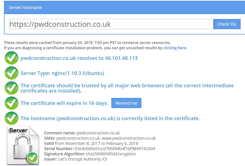 SSL Lets Encrypt PWD