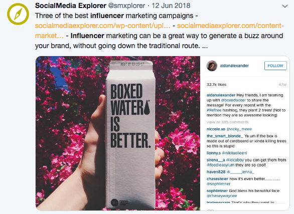Boxed water is better instagram influencer