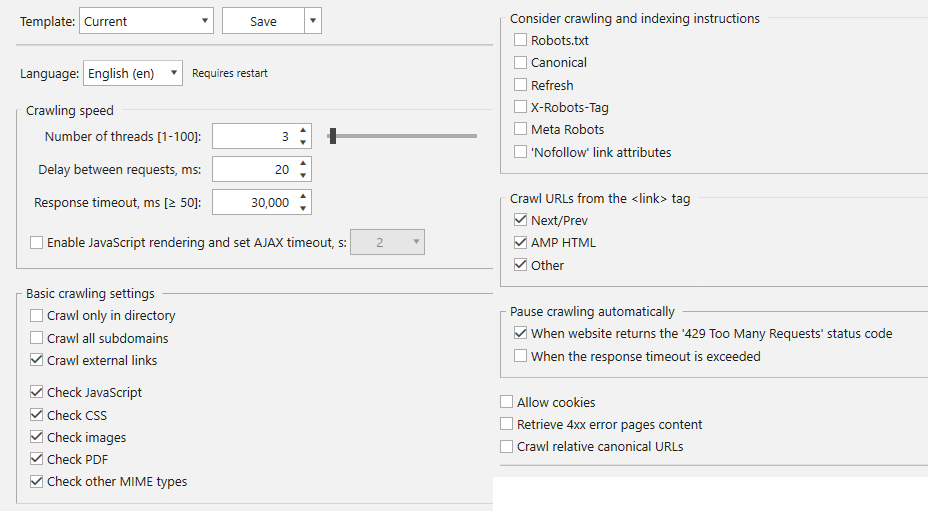 Crawling Settings window