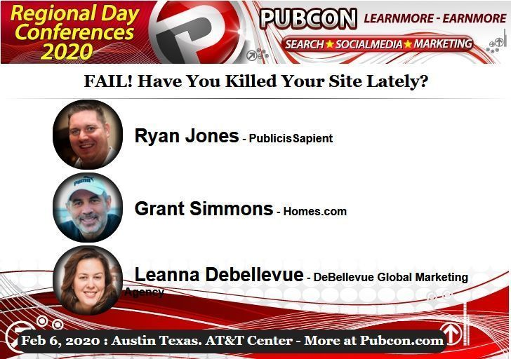 Grant will be at Pubcon Austin in February 2020 talking Social Fails!