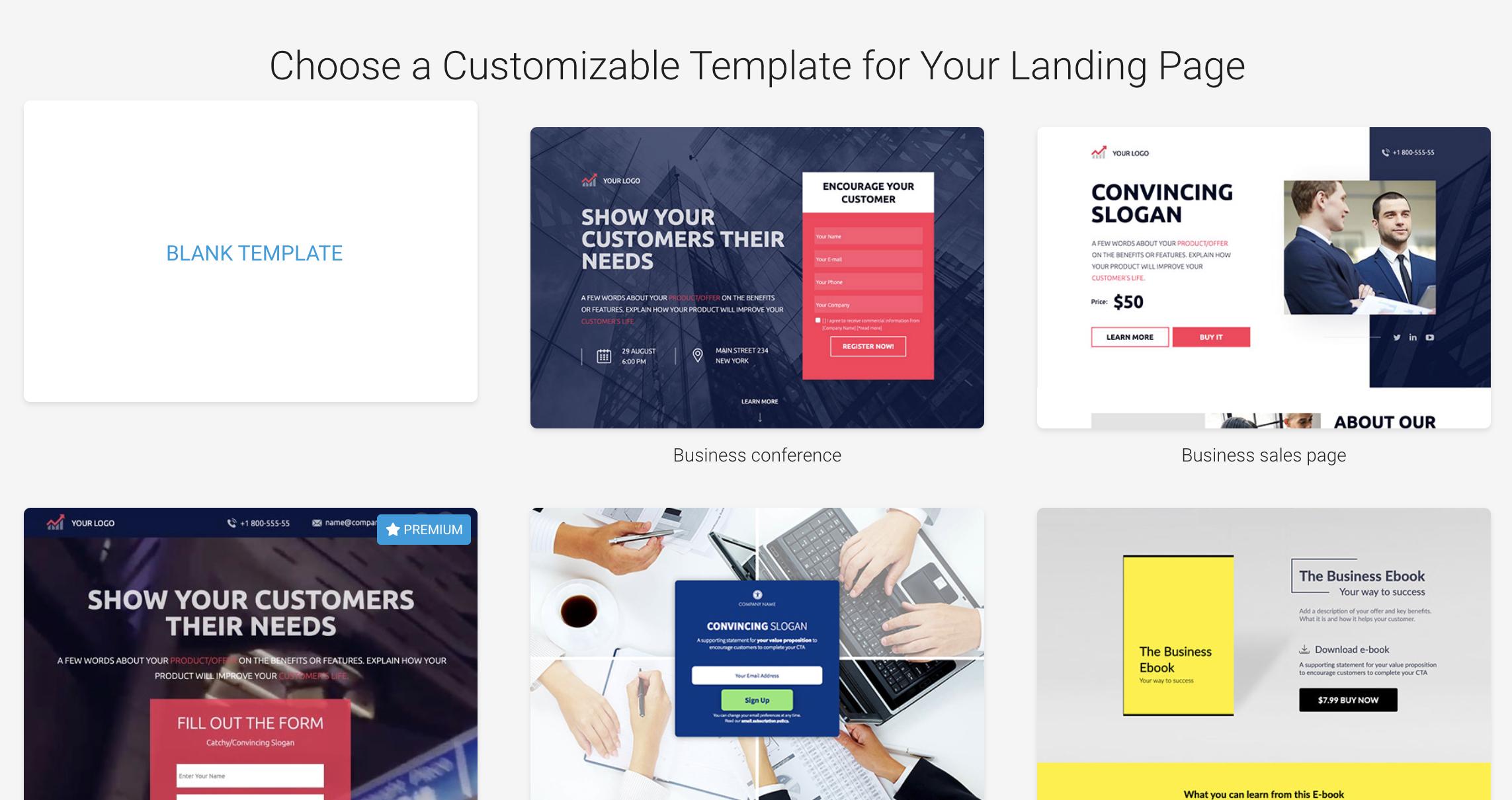 Landingi - Select template