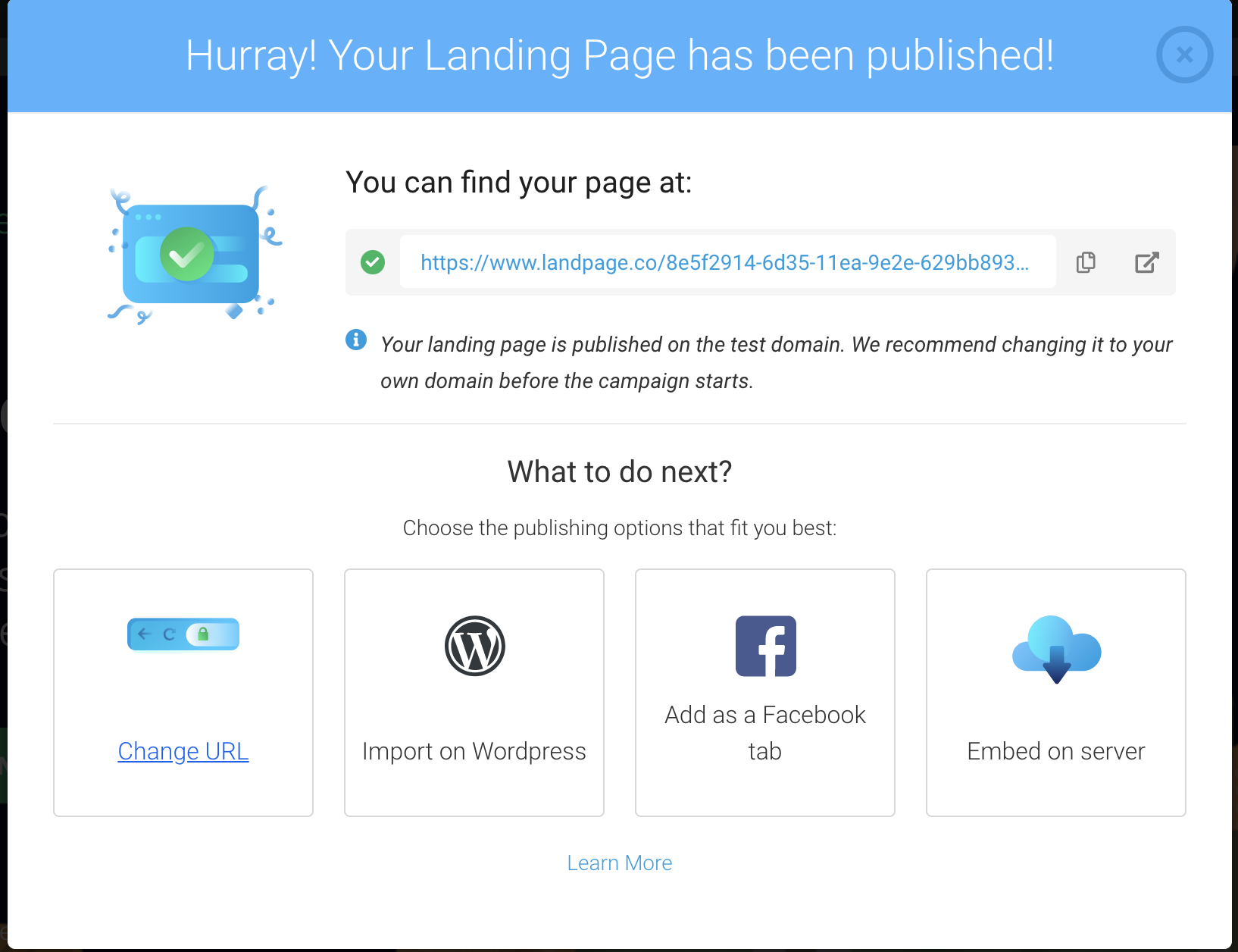 Further options after publication your landing page