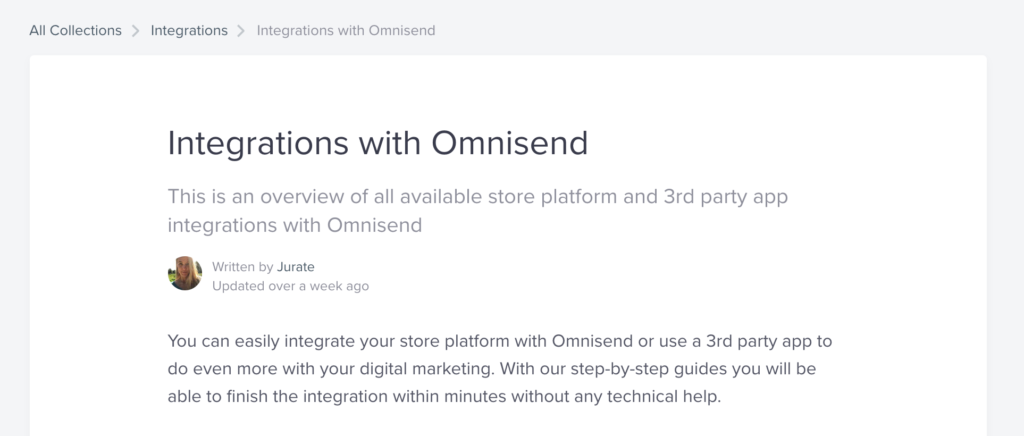 Integrations with Omnisend