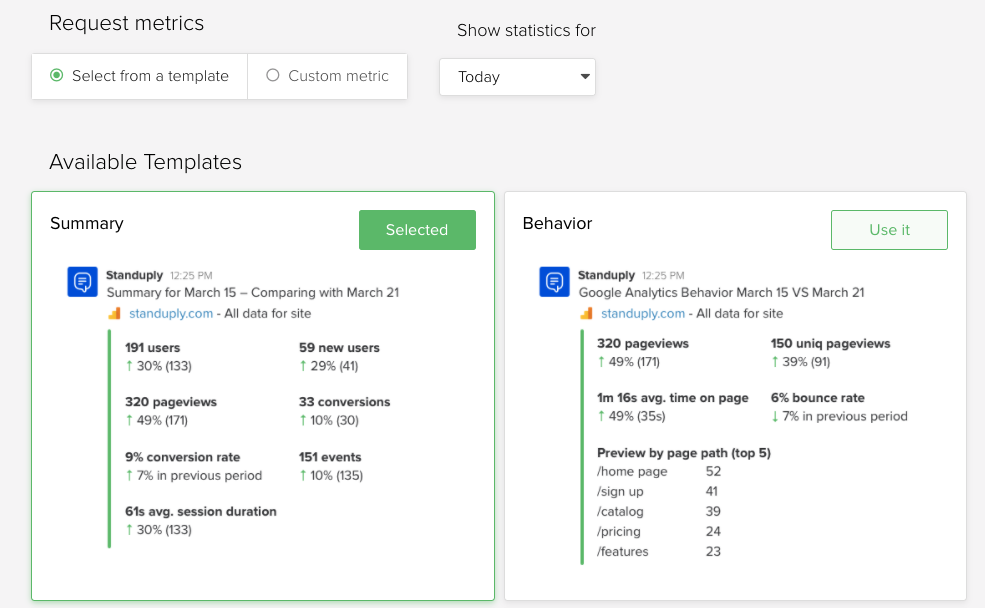Request metrics standuply