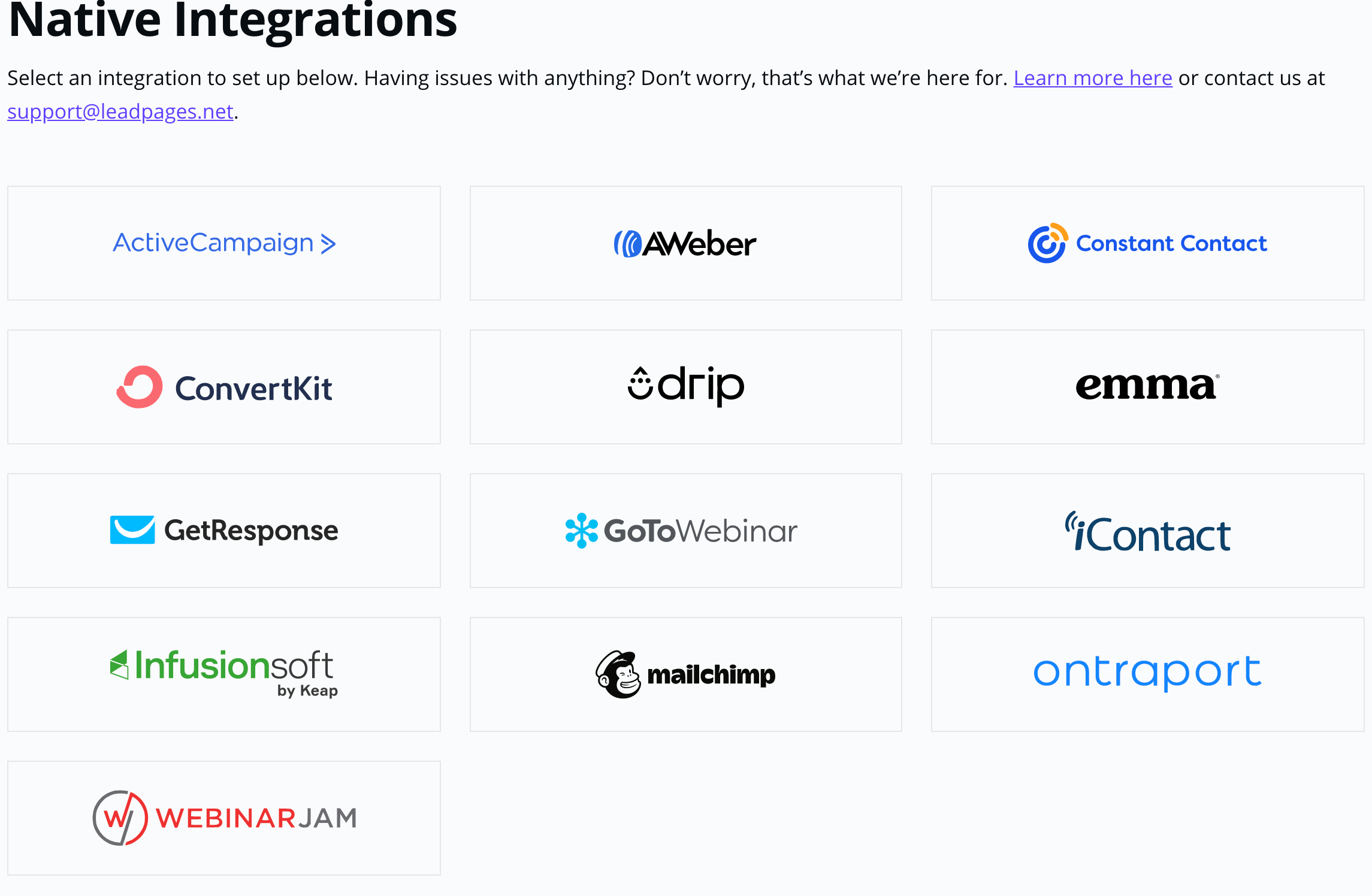 Lead pages Native Integrations